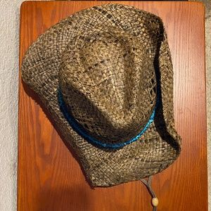 Straw cowboy hat with turquoise bead accent